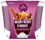 Glade Maxi Merry Berry & Bright with the scent of merlot, wild berries and spices scented candle in a glass, burning time up to 52 hours 224 g