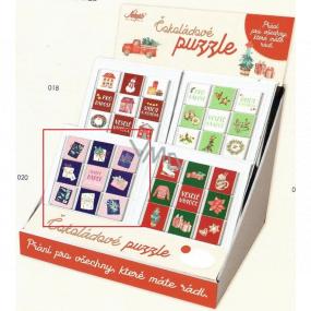 Nekupto Čokoládové puzzle vánoční Dárky 11 x 11,5 x 0,7 cm, 9 x 5 g