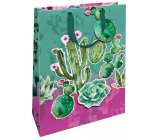 Nekupto Gift paper bag matt 22.3 x 33.3 x 10 cm Cactuses with 3D application of cactus 1695 LBL