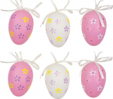 Plastic eggs for hanging white-pink 6 cm 6 pieces in a bag