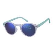 Dudes & Dudettes Kids' Sunglasses white transparent, blue mirror, light green DD24002