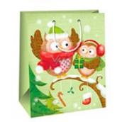 Gift bag AB big light green 2 owls