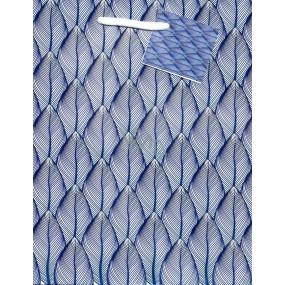 Nekupto Gift paper bag medium 18 x 23 x 10 cm Blue, leaves 1822 40 KFM
