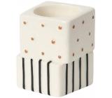 Yankee Candle Jackson Frost svícen na čajovou svíčku s puntíky a proužky 5 x 5 x 7 cm