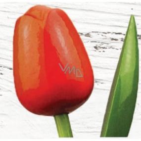 Wooden tulip 34 cm orange-red 9488