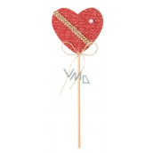 Heart knitted red groove 6 cm + skewers