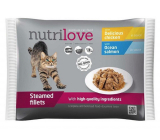 Nutrilove Braised fillets with juicy chicken in sauce, braised fillets with juicy salmon in sauce complete food for cats pocket 4 x 85 g