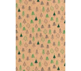 Ditipo Gift wrapping paper 70 x 200 cm Christmas KRAFT green and black trees