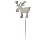 Wooden reindeer 8 cm gray + wire 4026 8715
