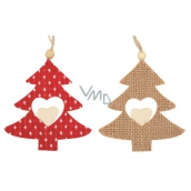 Red and jute sapling for hanging 10 cm, 2 pieces in a bag