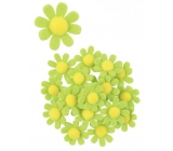Decorations of flowers from a filter with a green 3,5 cm stick in a box of 18 pieces