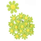 Felt flowers with glue green decoration 3.5 cm in a box of 18 pieces