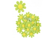 Felt flowers with green decoration sticker 3.5 cm in a box of 18 pieces