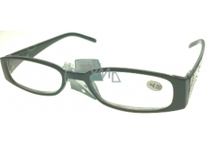 Berkeley Optical reading glasses +4.0 plastic black side with rhinestones 1 piece MC2154
