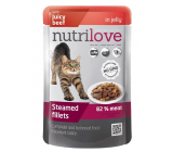 Nutrilove Stewed fillets with juicy beef in jelly complete food for cats pocket 85 g