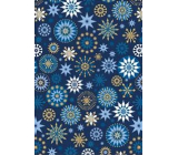 Ditipo Gift wrapping paper 70 x 200 cm Christmas blue blue-gold snowflakes