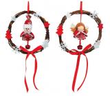 Wicker wreath angel, snowman for hanging 16 cm 1 piece