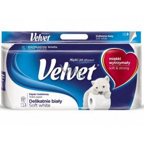 Velvet White Soft fine white toilet paper 3 ply 8 pieces
