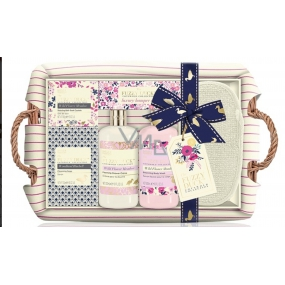 Baylis & Harding Forest Bell and Flower Meadow liquid body soap 300 ml + shower cream 300 ml + soap 100 g + bath crystals 100 g + massage gloves + wicker basket, cosmetic set