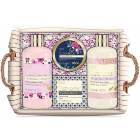 Baylis & Harding Forest Bell and Flower Meadow liquid body soap 300 ml + shower cream 300 ml + soap 150 g + bath crystals 100 g + wicker basket, cosmetic set