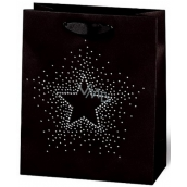 BSB Luxury gift paper bag 23 x 19 x 9 cm Christmas black with star with rhinestones VDT 436-A5