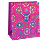 Ditipo Gift paper bag 26 x 32.5 x 13.8 cm pink colored mandalas