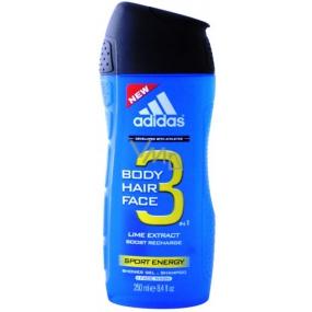 Adidas Sport Energy 3 in 1 shower gel for body, hair and face for men 250 ml