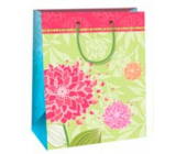 Ditipo Gift paper bag large light green red, pink flower 26 x 32,5 x 13,8 cm