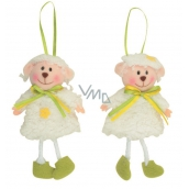 Sheep with a green ribbon for hanging 15 cm