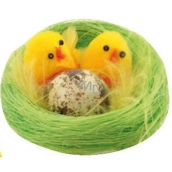 Plush chickens in green nest 6 cm 1 piece