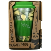 Cozy Time Bamboo Eco Tropical Leaves bamboo ecological thermo mug + silicone lid light green 450 ml