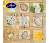 Nekupto Paper napkins Easter Wooden frames - daffodil, hare, eggs 3 layers 33 x 33 cm 20 pieces
