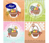 Nekupto Paper napkins 3 ply 33 x 33 cm 20 pieces Easter Eggs in baskets