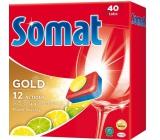 Somat Gold 12 Action Lemon & Lime Dishwasher Tablets help remove tough dirt without prewashing 40 pieces