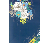 Ditipo Gift paper bag 26.4 x 32.5 x 13.5 cm blue white blue flowers