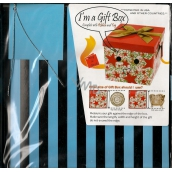 Angel Gift box folding with ribbon blue black stripes 22 x 22 x 13 cm