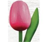 Wooden tulip 20cm pink-white 9587