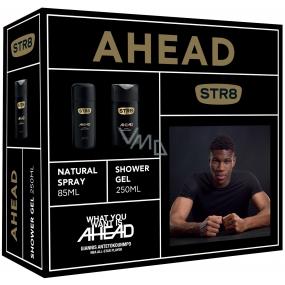 Str8 Ahead perfumed deodorant glass for men 85 ml + shower gel 250 ml, cosmetic set