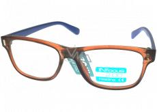 Berkeley Reading glasses +2.0 plastic brown, blue sides 1 piece R4077