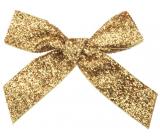 Velvet gold glittering bow 10 cm 6 pieces