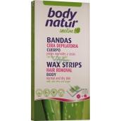 Body Natur Sensitive voskové pásky pro epilaci těla s Aloe Vera a Arganovým olejem 16 kusů + poepilační ubrousky 2 kusy