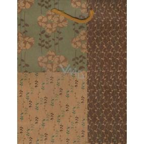 Nekupto Gift paper bag medium 24,5 x 19 x 8 cm Beige-green with flowers 356 KHM