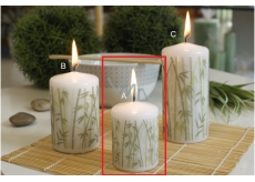 CANDLE Cylinder 50x70 white motif Bambus 9263