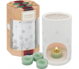 Yankee Candle White Fir - Frosted Fir Tea Candle 4 Pieces + Ceramic Candlestick 1 Piece, Christmas Gift Set