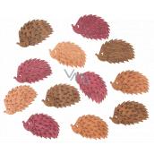 Wooden hedgehogs brown-orange-pink 4 cm 12 pieces