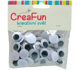 CreaFun Oči černobílé 15 mm 60 kusů