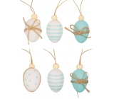 Plastic-beaded eggs for hanging 4 cm, 6 pieces in a bag