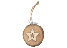 Oval wooden with star, to hang 10 cm