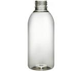 Transparent bottle, plastic, with cap, diameter 28 mm, 200 ml