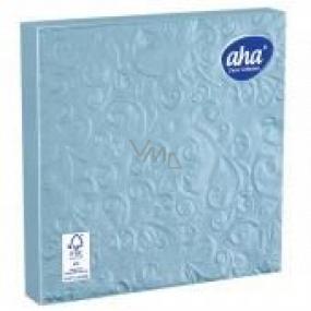 Aha Paper napkins 3 ply 33 x 33 cm 15 pieces Embossed light blue